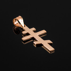 Rose Gold Plain Russian Orthodox Cross Pendant Necklace