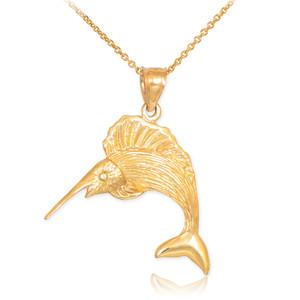 Gold Sailfish Pendant Necklace