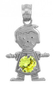 White Gold CZ Yellow Topaz Baby Boy Birthstone Charm