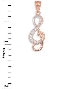 Diamond Studded Rose Gold Treble Clef Music Pendant Necklace