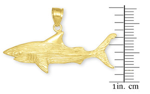 Gold Shark Textured Pendant Necklace
