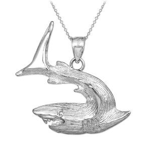 Textured White Gold Shark Pendant Necklace