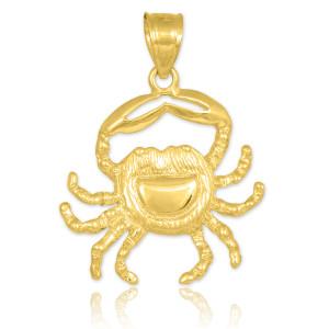gold crab charm pendant