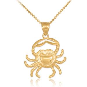 Gold Crab Charm Pendant Necklace