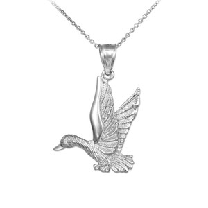 White Gold Flying Duck Pendant Necklace