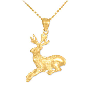 Gold Deer Charm Pendant Necklace