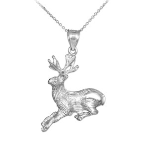 White Gold Deer Charm Pendant Necklace