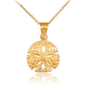 Polished Gold Sand Dollar Charm Pendant Necklace
