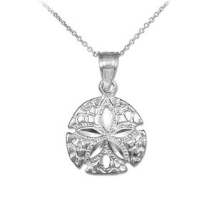 Polished White Gold Sand Dollar Charm Pendant Necklace