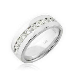 14K White Gold Women's Diamond Wedding Band 6mm