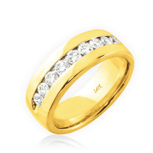 14K Gold Women's Diamond Wedding Band 6mm