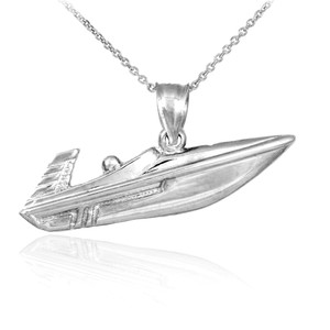925 Sterling Silver Speed Boat Pendant Necklace