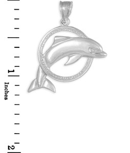 Sterling Silver Hoop Jumping Dolphin Pendant
