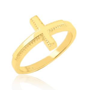 Solid Gold Sideways Cross Ring