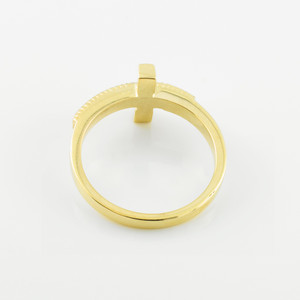Two-Tone Solid Gold Sideways Cross Ring