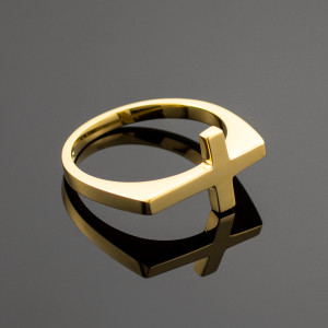 Solid Gold Flat Top Sideways Cross Ring