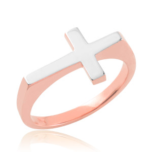 Two-tone Solid Rose Gold Flat Top Sideways Cross Ring