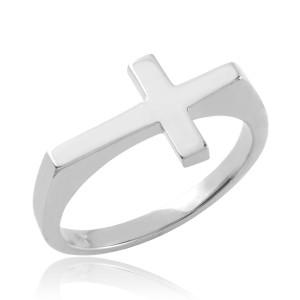 Solid Sterling Silver Flat Top Sideways Cross Ring