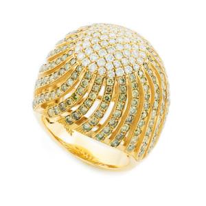 18K Yellow Gold Diamond Pave Cocktail Ring