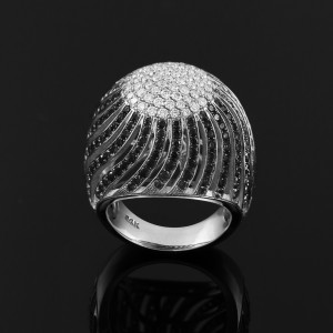 14K White Gold Diamond Pave Cocktail Dome Ring