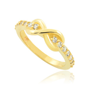 Dainty Gold Clear CZ Infinity Ring