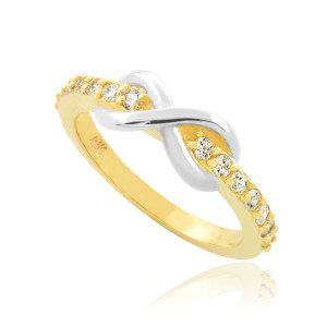 Two-Tone Gold Infinity Clear CZ Knukle Ring
