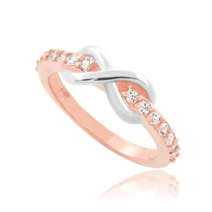 Two-Tone Rose Gold Infinity Clear CZ Knukle Ring