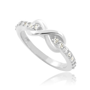 Sterling Silver Infinity Clear CZ Knukle Ring