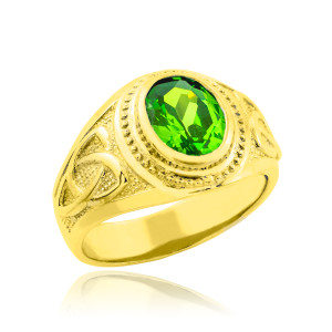 Gold Celtic Emerald Green Oval CZ Men's Ring