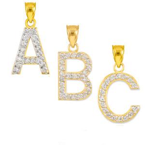 "Gold Letter ""A"" Initial Diamond Monogram Pendant Necklace"