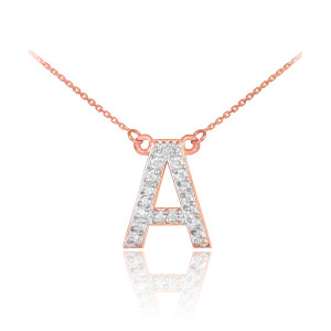 """14k Rose Gold Letter """"A"""" Diamond Initial Monogram Necklace"""