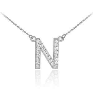 """14k White Gold Letter """"N"""" Diamond Initial Monogram Necklace"""
