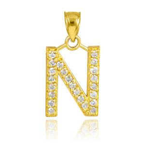 "Gold Letter ""N"" Initial Diamond Monogram Pendant Necklace"