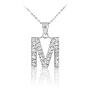 "White Gold Letter ""M"" Initial Diamond Monogram Pendant Necklace"