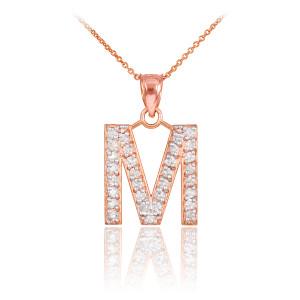 "Rose Gold Letter ""M"" Initial Diamond Monogram Pendant Necklace"