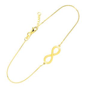 14K Solid Gold Infinity Bracelet