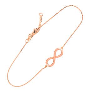 14K Solid Rose Gold Infinity Bracelet