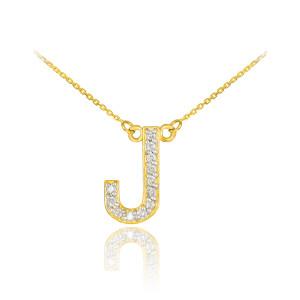 "14k Gold Letter ""J"" Diamond Initial Necklace"