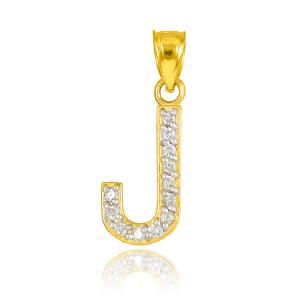"Gold Letter ""J"" Diamond Initial Pendant Necklace"