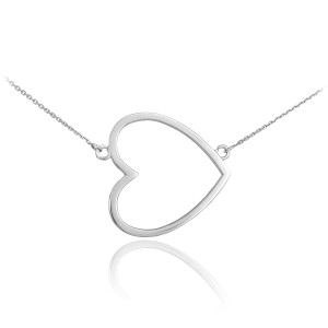 14K White Gold Sideways Open Heart Necklace
