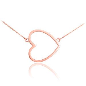 14K Rose Gold Sideways Open Heart Necklace