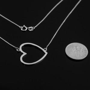 Sterling Silver Sideways Open Heart Necklace