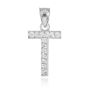 "White Gold Letter ""T"" Diamond Initial Pendant Necklace"