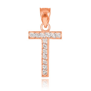 "Rose Gold Letter ""T"" Diamond Initial Pendant Necklace"