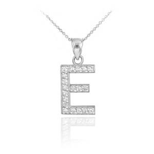 "White Gold Letter ""E"" Diamond Initial Pendant Necklace"