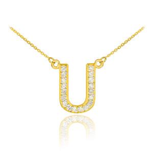 "14k Gold Letter ""U"" Diamond Initial Necklace"