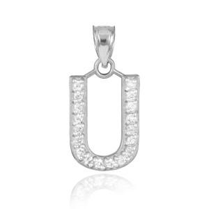 "White Gold Letter ""U"" Diamond Initial Pendant Necklace"