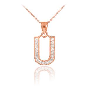 "Rose Gold Letter ""U"" Diamond Initial Pendant Necklace"