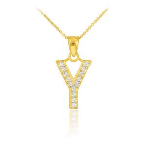 "Gold Letter ""Y"" Diamond Initial Pendant Necklace"
