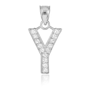 """White Gold Letter """"Y"""" Diamond Initial Pendant Necklace"""